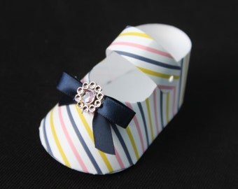 25 DIY stripes   baby shoe Shaped Party favor boxes  baby shower