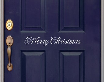 Merry Christmas decal - Front Door Decal - Christmas door decal - Wall Art - Vinyl Decal - Holiday Decal