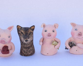 The Three Little Pigs Handmade Finger Puppets - ceramic puppets -hand drawn puppets for story telling