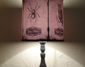 Skull lamp shade etsy owl and spider lamp shade lampshade aloadofball Image collections