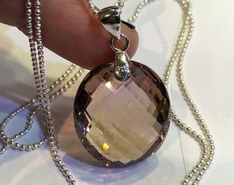 Ametrine pendant & chain  sterling silver 925