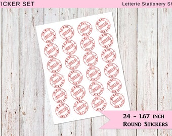 24 ENVELOPE STICKERS / Round Seals / Hello Airmail Inspired / Stationery / Snail mail / Pen-pal / Sticker / Seal / Closure