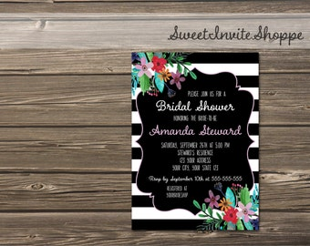 Black And White Bridal Shower Invitation, Floral Wedding Shower Invitation, Black And White Stripes Invitation, Black White Flowers Invite