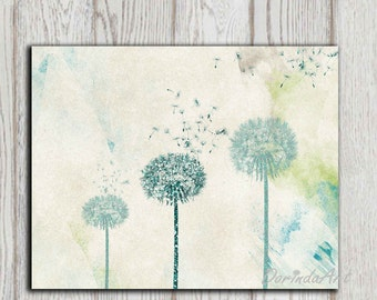 Dandelion printable Mothers day gift  Teal Dandelion Wall art Home decor print Bedroom Poster Abstract Glitter flower Office decor DOWNLOAD