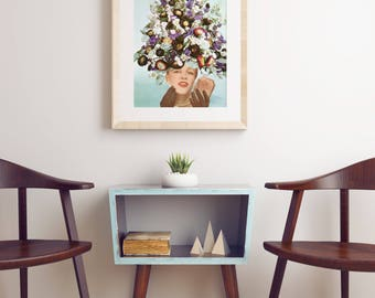 Pop Art Poster, Mid Century Floral Art Print, Pop Surrealism - Floral Fashions III
