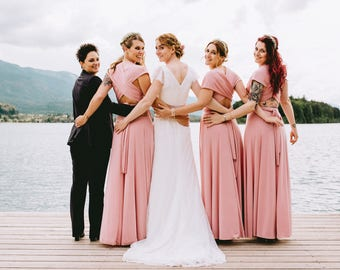 Blush bridesmaid dress, blush pink bridesmaid dress, long powder pink dress, long pink dress, light pink maxi dress, blush pink bridesmaids