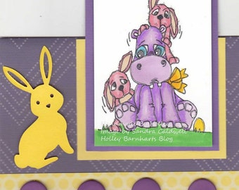 2095 Easter Hippon and Bunnies Digi Stamp