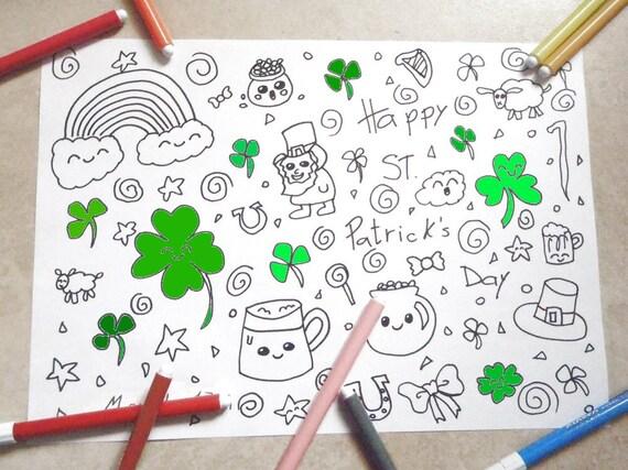 San patrizio disegno da colorare kawaii bambini trifoglio - San patrizio per i bambini ...