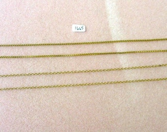 Two Vintage Gold Tone  Chain Necklaces - Box Chain, Round Link - 18 Inches - No. 1665