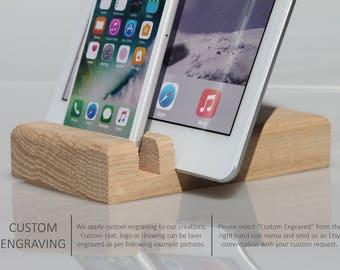 iPhone docking, iPad docking, wooden docking station, charging station, wood dock, docking station, mobile phone stand, Personalized gift