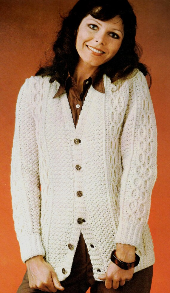 vintage crochet pattern cable knit button up cardigan sweater aran ...