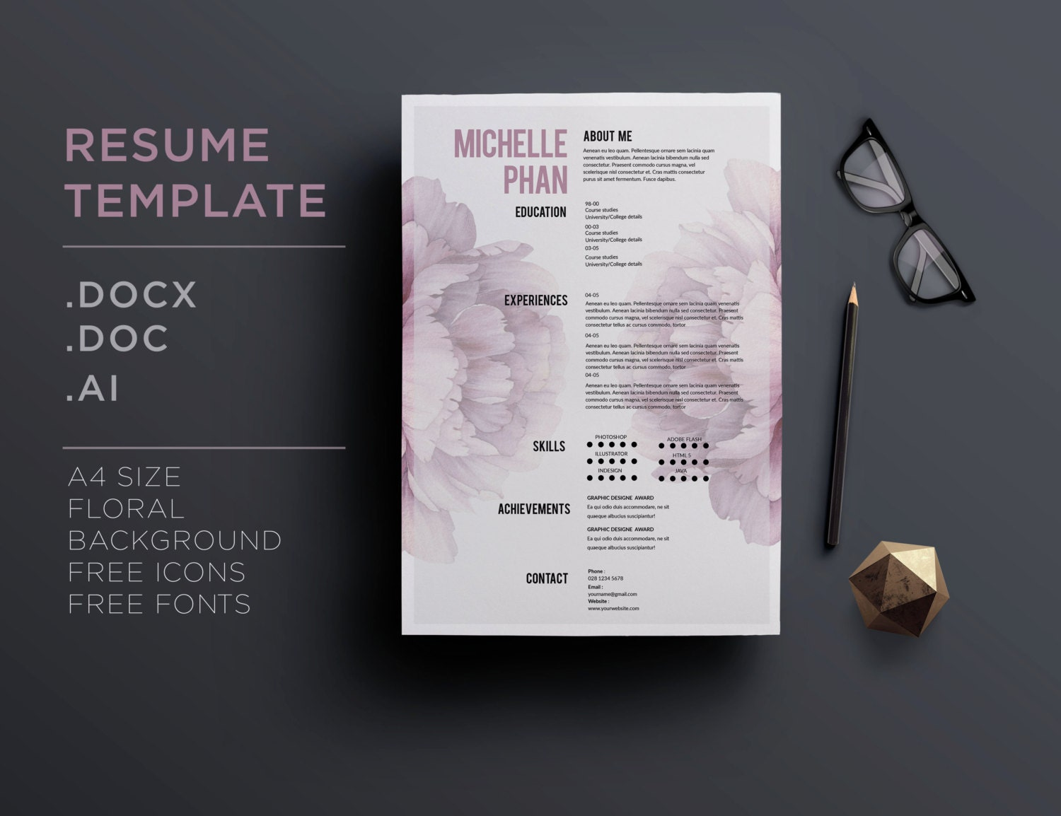 mod u00e8le de cv    1 cv pages lettre de motivation fond floral