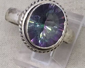 Beautiful faceted Mystic topaz sterling silver ring