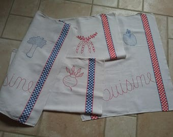 Old towels hand embroidered
