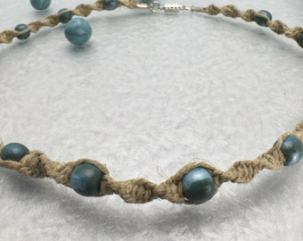 Hemp Necklace with Handmade Clay Beads, Green and Blue Beaded Natural Hemp Jewelry, Boho Necklace