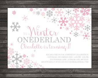 Winter Onederland Invitation Printable - Pink Gray Winter Wonderland Birthday Party - Winter Onederland Birthday - Snowflake Birthday Invite
