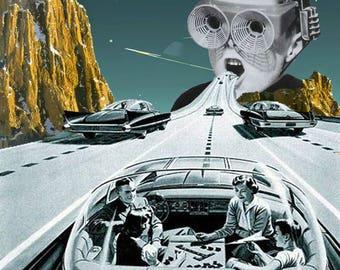 collage print. surrealism. vintage. Time travelers