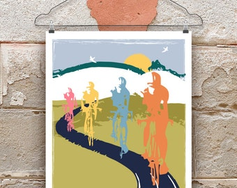 Cycling Art / Bicycle Print /  Print for Cyclists
