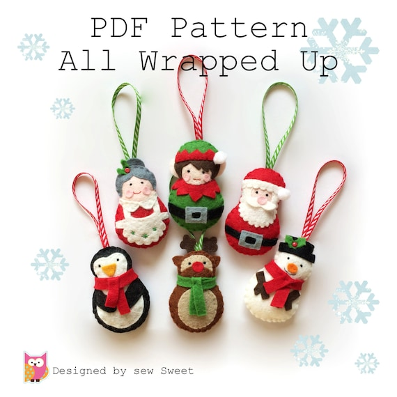 All Wrapped up Christmas Ornament decorations PDF PATTERN