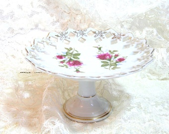 Vintage Footed Dessert Plate With Roses