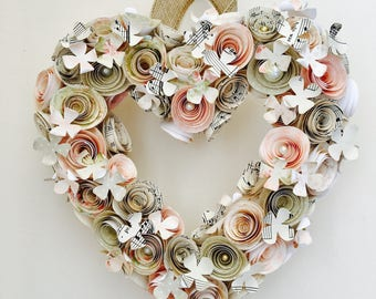 Heart wreath-valentine's love heart- paper flower wreath-wedding-first anniversary-engagement-birthday-new home-forever gift for her