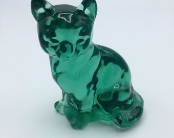 Vintage Fenton Light Green Glass Cat Figure- Made in USA