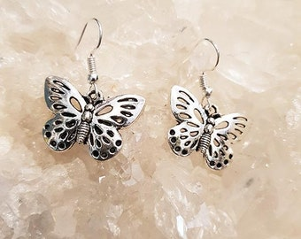 Pendientes Butterfly Plateados