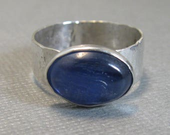 Natural Kyanite and Sterling Silver Artisan Handcrafted Ring, Chunky Kyanite and Sterling Ring size 9