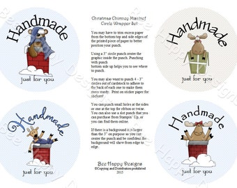 """PDF Printable """"Christmas Chimney Mischief"""" Circle Wrapper/Label Set - with background graphic"""