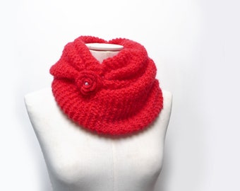 Red Mohair Loop Scarf, Oversized Knit Scarf, Circle Scarf, Chunky Cowl, Long Infinity Scarf, Tube Scarf with Flower Button, Mother Day Gift