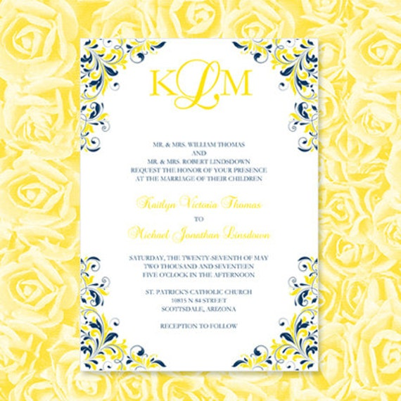 Navy blue yellow wedding invitations kaitlyn