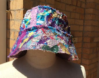 Bucket hat, recycled fabric scraps, adult size