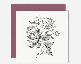 Peony / Floral Greeting Card / Illustration