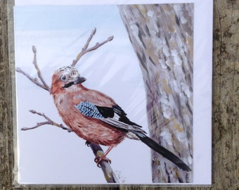 Jay blank greeting card from an original acrylic painting
