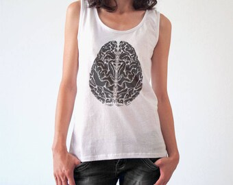 Brain T-shirt-Anatomical tees-tattoo T-shirt-retro women brain shirt-men's brain t-shirt-brain tank top-doctor gift-NATURA PICTA NPTS136