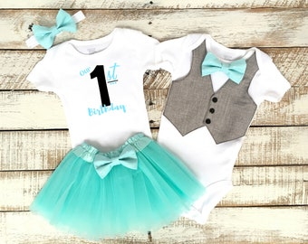 Twin First Birthday Outfits, Boy and Girl Twins, Our First Birthday, Matching Outfits, Vest with Aqua Blue Bow Tie, Aqua Blue TuTu Skirt