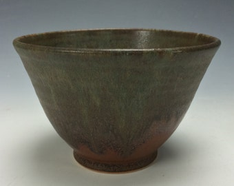 Rustic Blue Brown Green and Red Ceramic Bowl, Clay Bowl, Soup Cereal Pasta Rice, Unique Kitchen Dips Bowl, Matcha Chawan, Tea Bowl