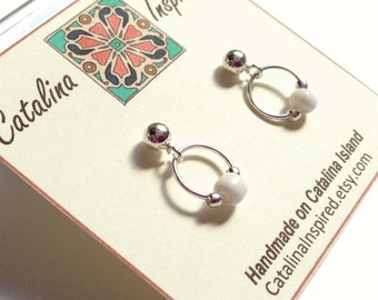 Sterling Silver Post Earrings With Silver Ring, White Glass and Silver Beads
