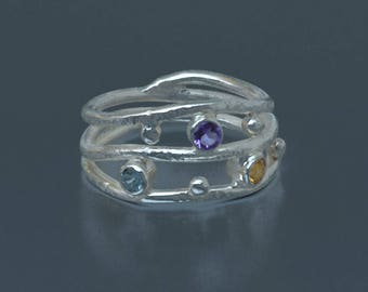 Multi Stone Ring in Silver, Rainbow Ring, Amethyst, Citrine, Blue Topaz Ring, Handmade silver and gemstone ring, Size 7.25