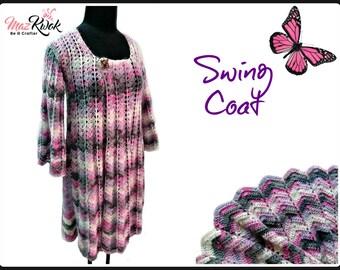 Swing coat pdf crochet pattern ( size S - 3XL )