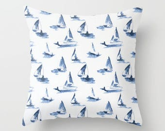 Nautical Pillow cover Sailboat Pillow Cover Decorative Pillow Cover Beachy Pillow Navy Pillow