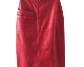 Vtg 80s red leather midi pencil skirt high waisted tannery west sz 6 small
