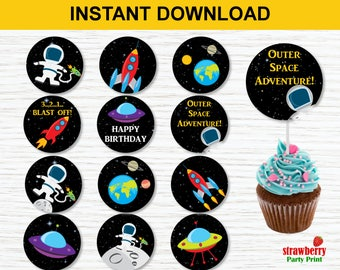 Space Cupcake Toppers, Outer Space Birthday, Space Birthday Party, Rocket Ship Party, Astronaut Birthday, INSTANT DOWNLOAD