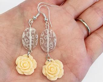 light orange earrings, peach rose earrings, earrings handmade, plastic flower earrings, peach dangle earrings, summer jewelry handmade