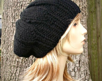 Knit Hat Black Womens Hat - Urchin Beret Hat in Black Knit Hat - Black Hat Black Beret Black Beanie Womens Accessories