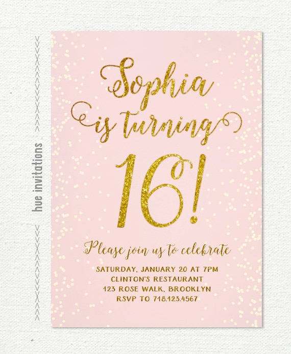 Pink Gold 16th Birthday Invitation Sweet 16 Invitation Pastel