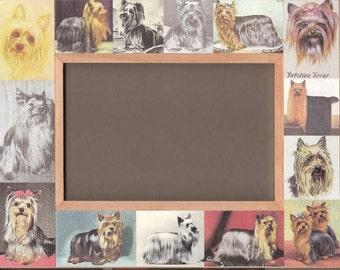 Yorkie / Yorkshire Terrier / DOG PICTURE FRAME / Vintage Art / Photo / Memorial