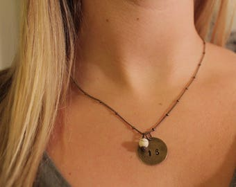 Hand-Stamped Number Necklace with Stone