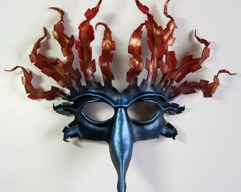 Fire and Water leather bird mask in metallic blue, red, and antique gold.  Made to order. Halloween