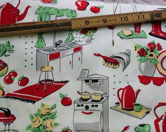Fifties Kitchen by Michael Miller Fabrics Patt # C-1595 Vintage Retro Kitchen Fabric Sold By Half Yard
